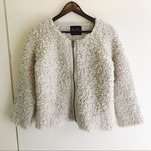 Zara Knit Textured Fuzzy Jacket